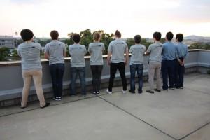 陸上班Tシャツの背中側には、それぞれの名前を漢字で載せました