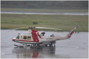 ファーストコアを運んできたヘリコプター