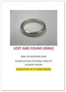 紛失物として届けられた指輪のフライヤー